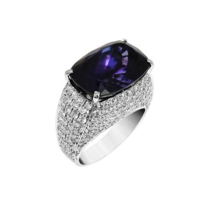 Spallanzani anello cat eye tanzanite and diamond ring as seen on Rihanna