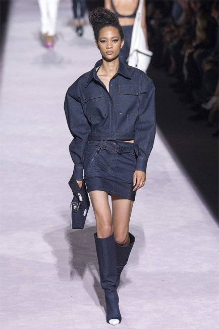 Tom Ford Spring 2018 denim skirt, jacket and white-tipped boots as seen on Rihanna