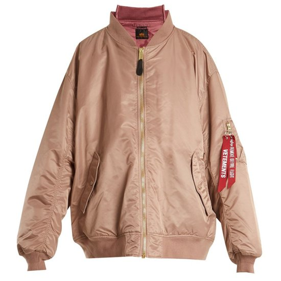 Vetements Alpha Industries pink reversible bomber jacket as seen on Rihanna