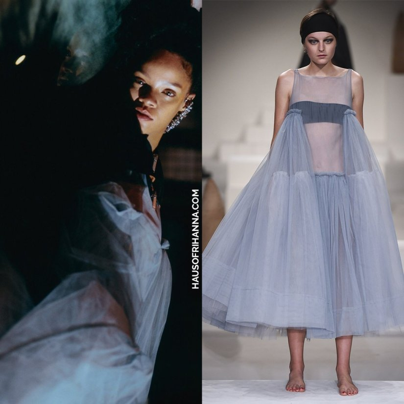 Rihanna Dazed magazine 2017 Molly Goddard grey tulle dress