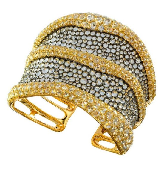 Etho Maria diamond and aquamarine cuff bracelet as seen on Rihanna