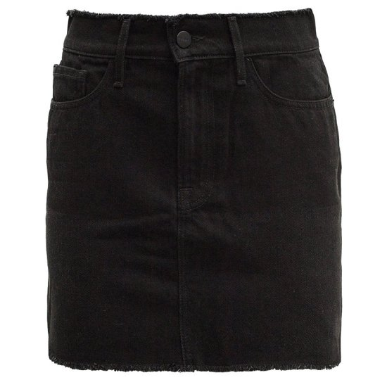 Frame frayed Le Mini Skirt in black as seen on Rihanna