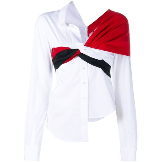 Jacquemus red black white long sleeve knot shirt as seen on Rihanna