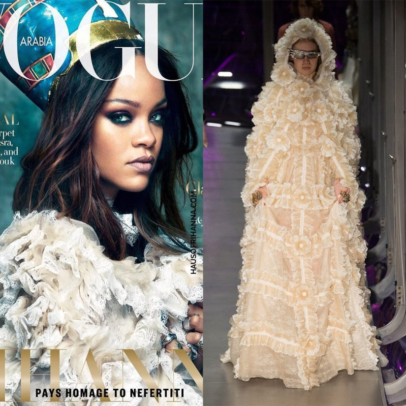 Rihanna Vogue Arabia magazine Gucci flower lace tulle dress