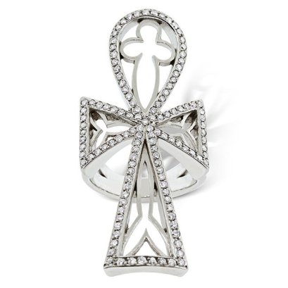Loree Rodkin pavé diamond and white gold ankh ring as seen on Rihanna
