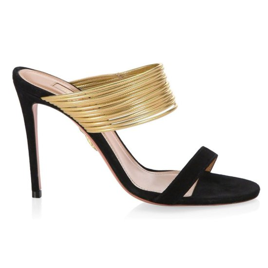 Aquazzura Rendez Vous gold and black sandals as seen on Rihanna