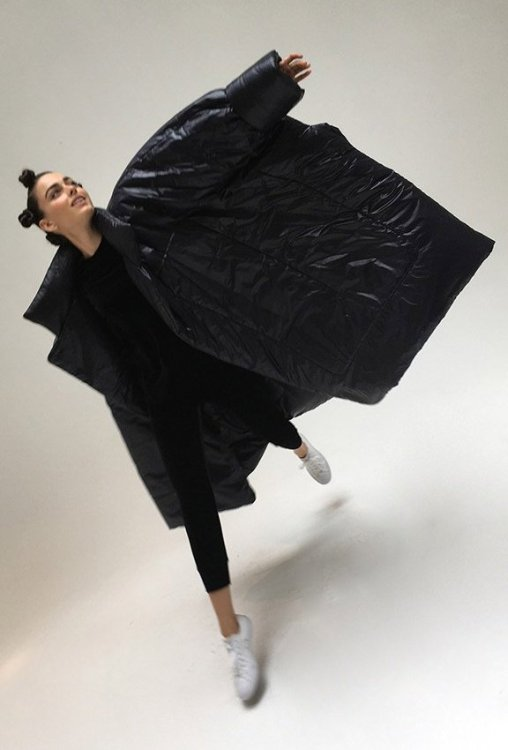 Norma Kamali black blanket sleeping bag coat as seen on Rihanna