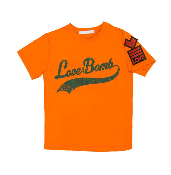YCH orange love bomb t-shirt as seen on Rihanna