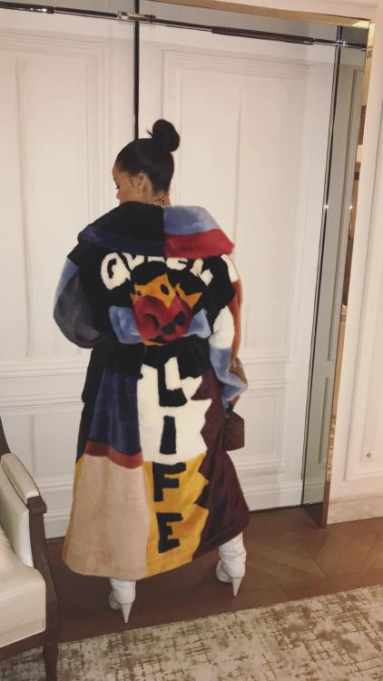 Rihanna Instagram Dolce Gabbana colorful fur coat, Off-White x Jimmy Choo Sara 100 white quilted boots, Louis Vuitton Twisted Box bag