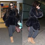 Rihanna black fur jacket Simone Rocha, Palace Skateboards basically a jogger pants, Ugg Classic II boots chestnut, Dior oblique duffle bag, Louis Vuitton petite malle bag charm, Off-White x Warby Parker black sunglasses