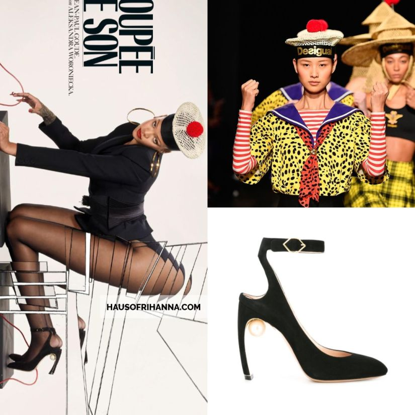 Rihanna Vogue Paris December 2017 Desigual Spring 2018 straw beret with red pom pom, Nicholas Kirkwood Lola pearl black suede pumps