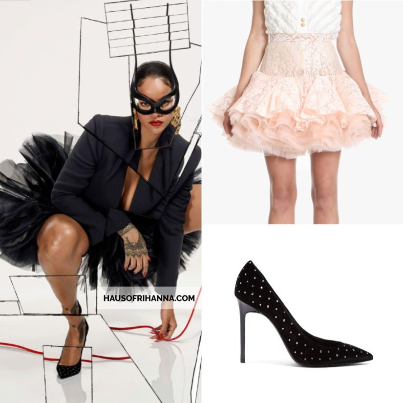 Rihanna Vogue Paris December 2017 Balmain jacket and lace and tulle skirt, Saint Laurent Anja crystal velvet pumps