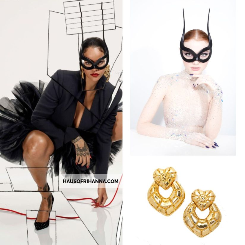 Rihanna Vogue Paris December 2017 Philip Treacy black leather mask, Christian Lacroix vintage gold earrings