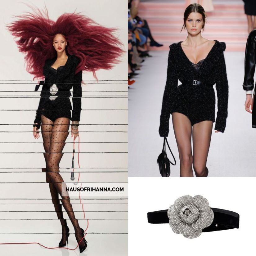 Rihanna Vogue Paris December 2017 Philosophy di Lorenzo Serafini black romper, Oscar de la Renta crystal flower belt, Saint Laurent Anja crystal pumps