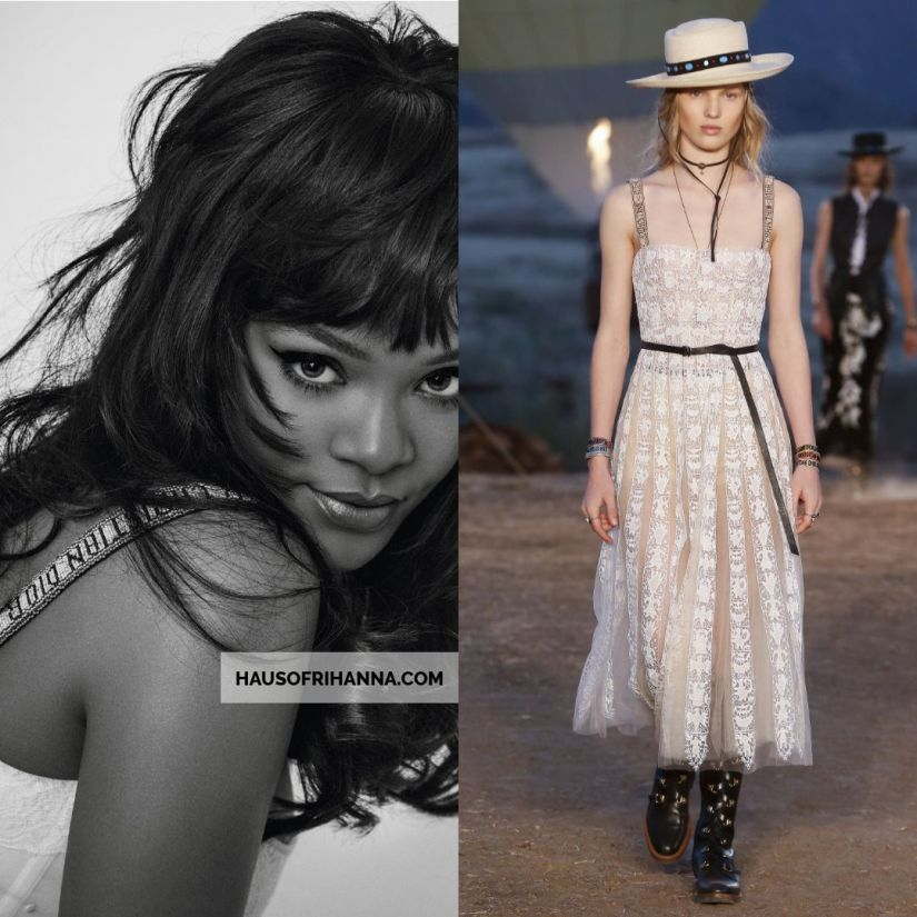 Rihanna Vogue Paris Inez Vinoodh December 2017 Dior white lace dress