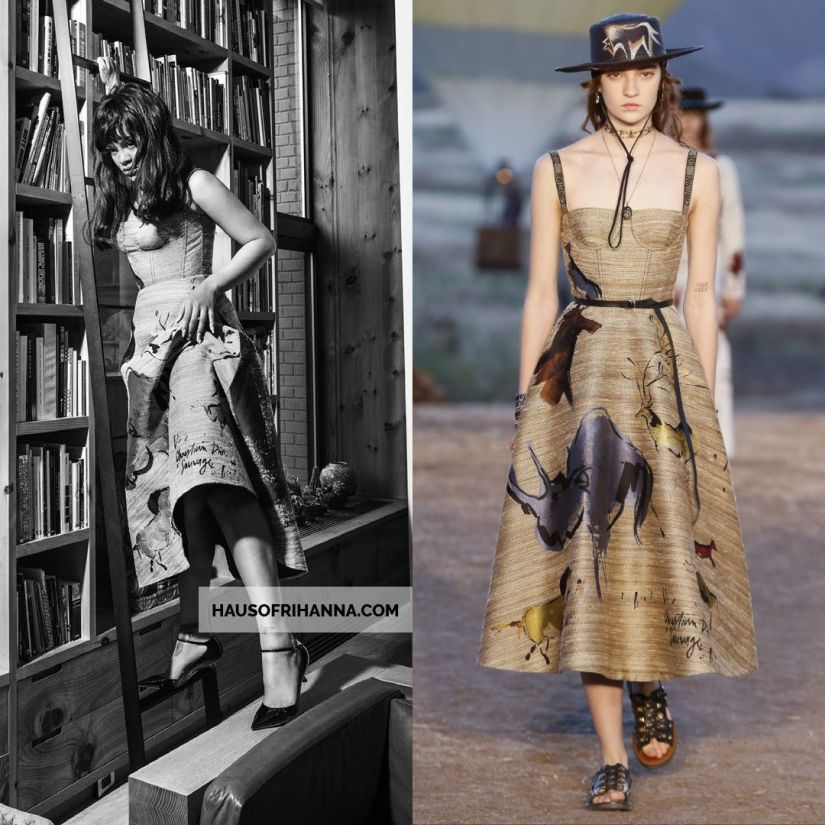 Rihanna Vogue Paris December 2017 Dior silk jacquard Sauvage print dress