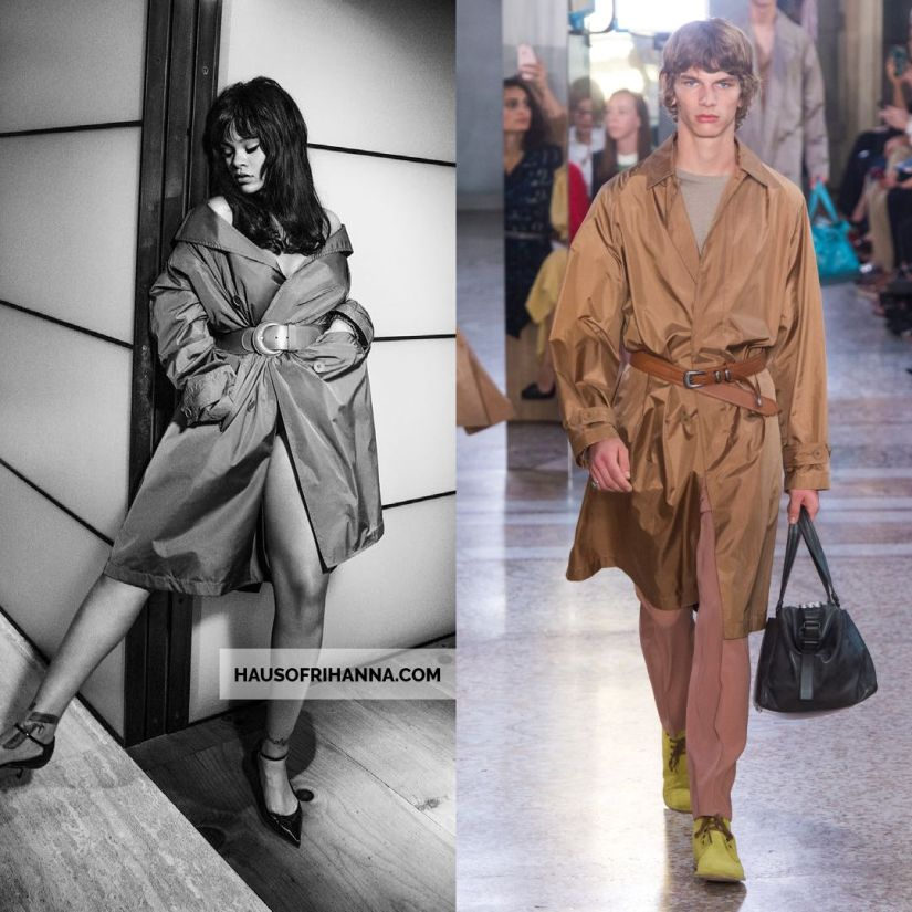 Rihanna Vogue Paris December 2017 Bottega Veneta silk trench coat