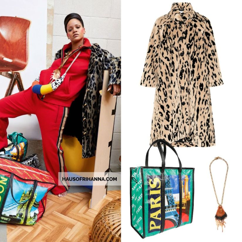 Rihanna Vogue Paris December 2017 Balenciaga leopard fur coat and XL Bazar shopper tote, Prada talisman shell and fur necklace