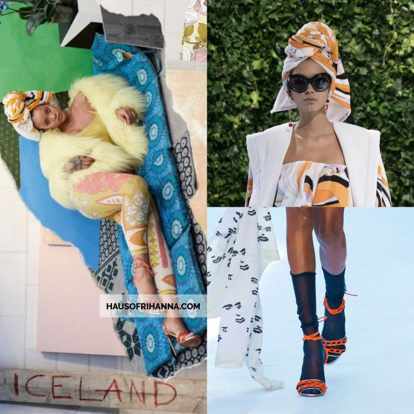 Rihanna Vogue Paris December 2017 Emilio Pucci print turban, Missoni chain sandals