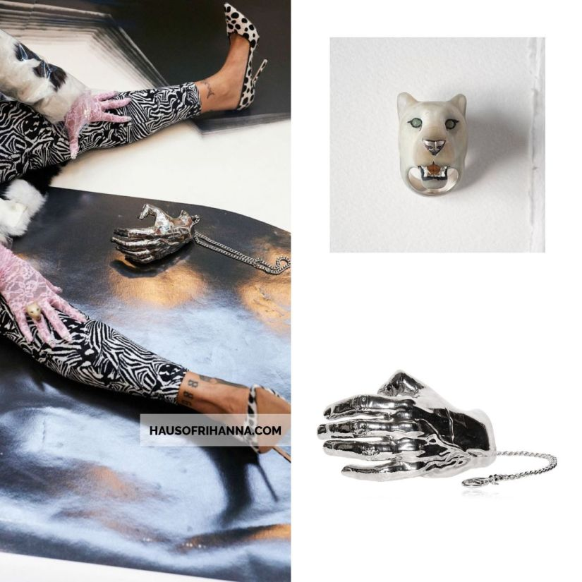 Rihanna Vogue Paris December 2017 Y/Project metal hand accessory and Harumi Klossowska de Rola Panther white lioness ring