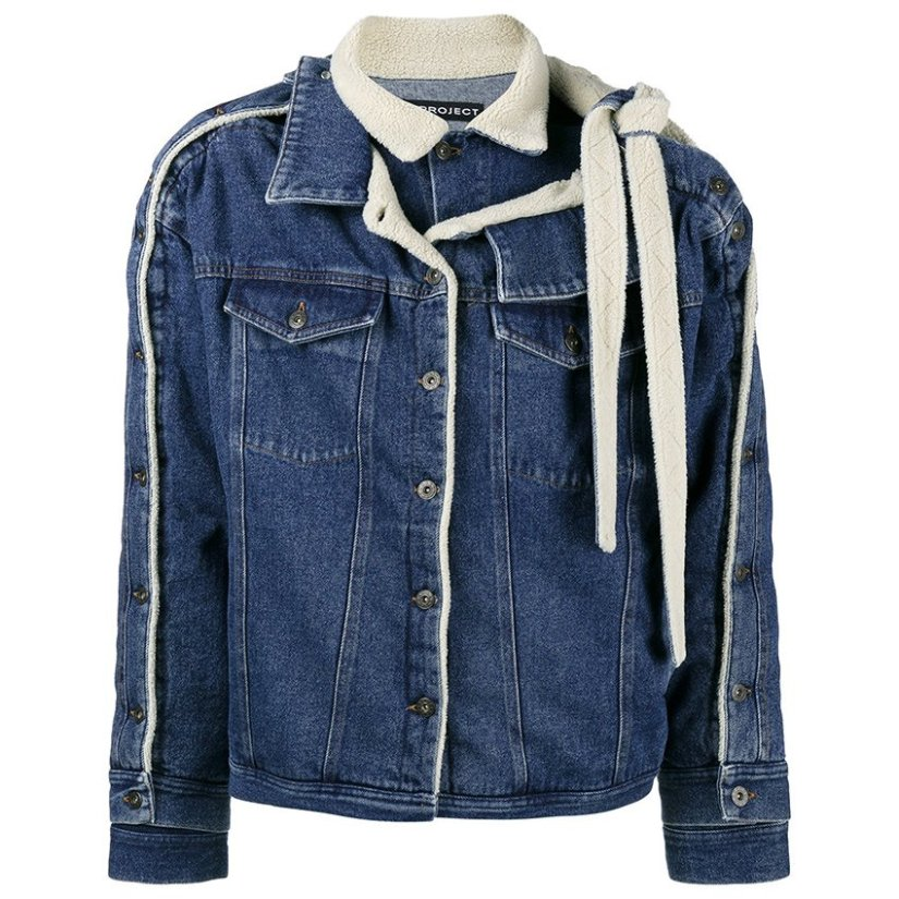 YProject layered denim shearling trucker jacket as seen on Rihanna