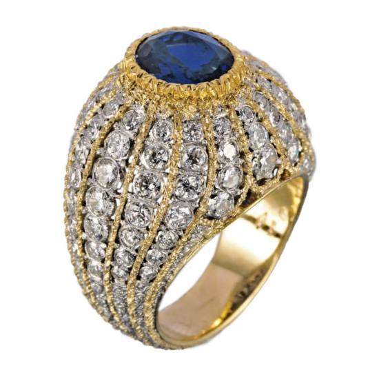 Buccellati white and yellow gold cocktail ring with diamonds and sapphires