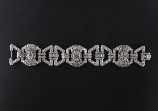 Pennisi vintage French art deco white diamond and platinum bracelet as seen on Rihanna