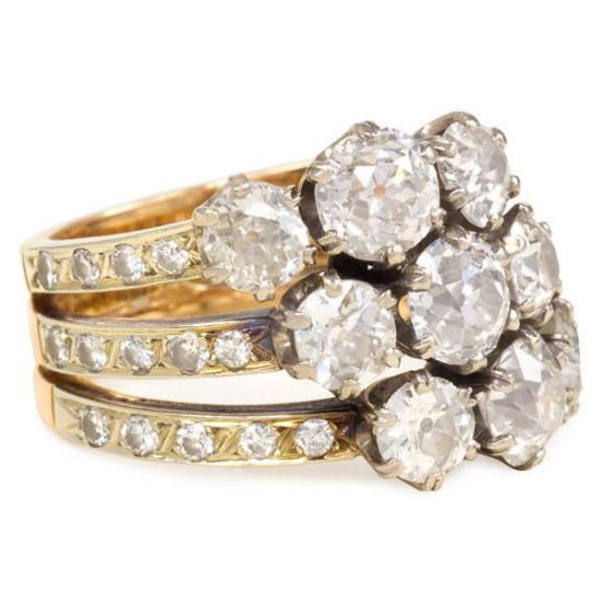 Kentshire antique diamond harem ring set as seen on Rihanna