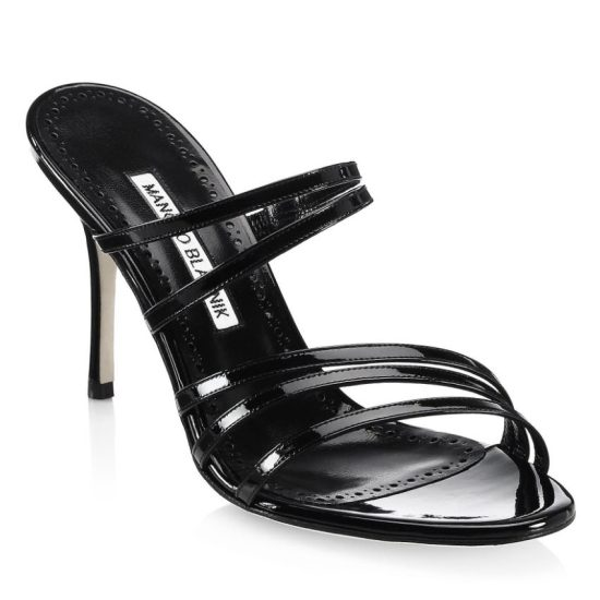 Manolo Blahnik Andena strappy patent leather mule sandals