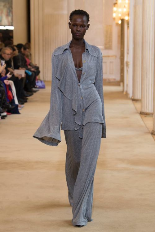 Nina Ricci Fall 2018 grey top, bra and pants as seen on Rihanna