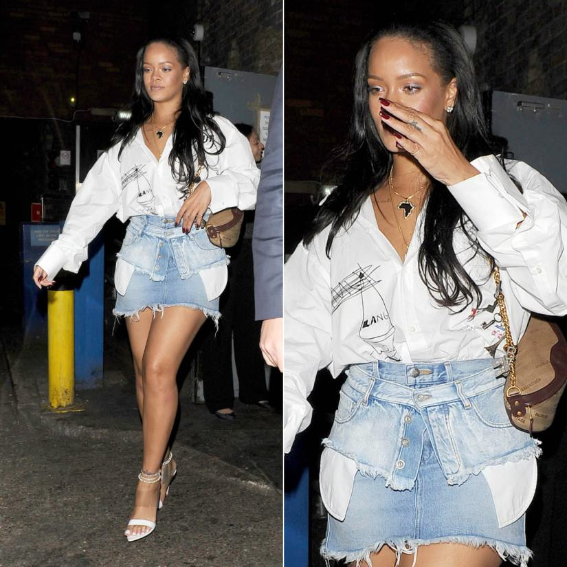 Rihanna Helmut Lang white button shirt, Unravel denim corset belt, Gianvito Rossi white PVC mule sandals, Balenciaga brown souvenir bag