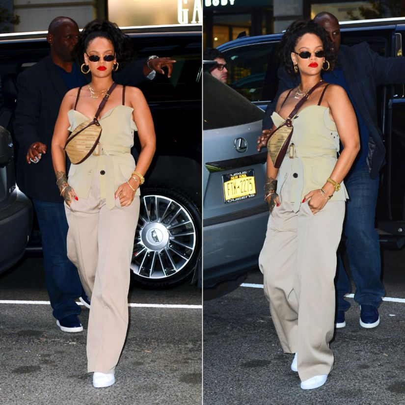 Rihanna Margiela strapless belted top, Celine high waisted khaki trousers, Puma court star white sneakers, Balenciaga souvenir logo bag XS, Jennifer Fisher baby samira hoop earrings, Dior sunglasses
