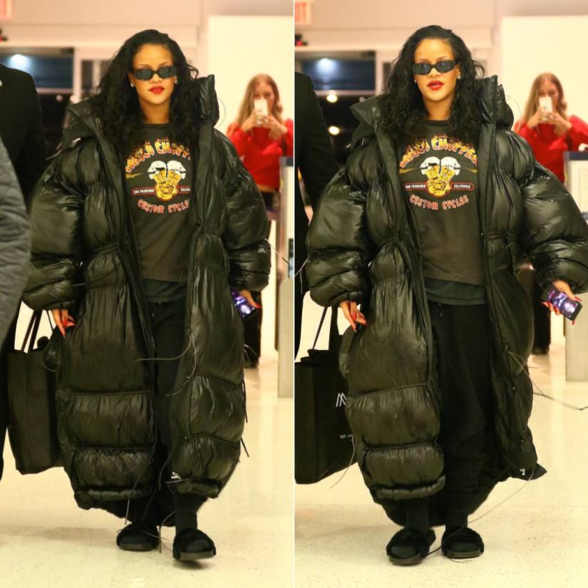Rihanna black oversize puffer coat Pluto Close Hannah Wallace , Frisco Choppers vintage flames t-shirt, Off-White black logo sweatpants, Fenty x Puma black fur slides