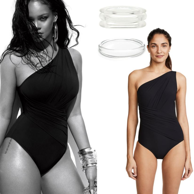 Rihanna US Vogue June 2018 magazine Michael Kors shirred one shoulder one-piece swimsuit, Alexis Bittar lucite hoop earring and bangles, PONO by Joan Goodman lucite bangles, RJ Graziano lucite bangles