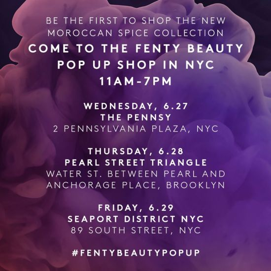 Fenty Beauty pop-up shops in New York