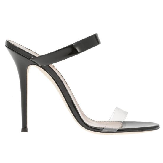 Giuseppe Zanotti New Darsey black PVC mule sandal as seen on Rihanna