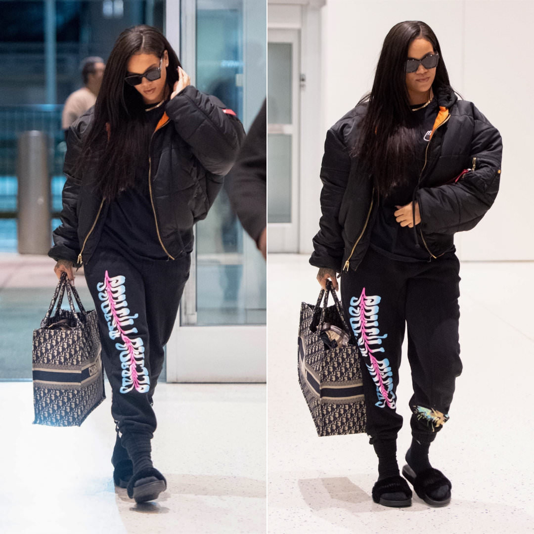 babb9680096 Rihanna said goodbye to New York City yesterday (June 7). Earlier in the  week she attended the premiere of Ocean s 8 and then stopped by the Stance  x Clara ...