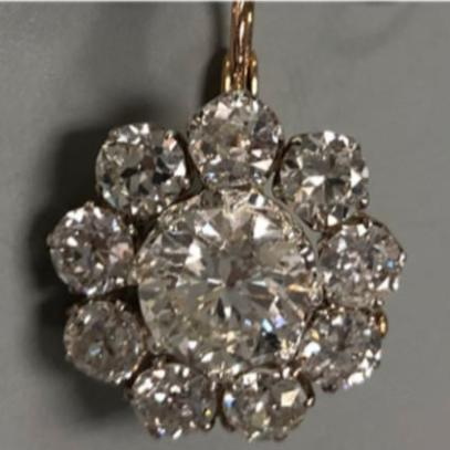 XIV Karats antique diamond drop earrings as seen on Rihanna