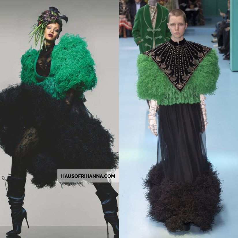 Rihanna British Vogue magazine cover September 2018 Gucci green and black feather embroidered lace dress