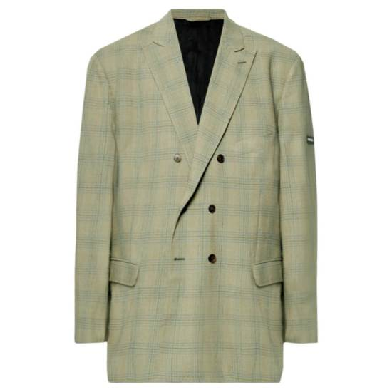 Balenciaga green oversized checked double-breasted blazer as seen on Rihanna