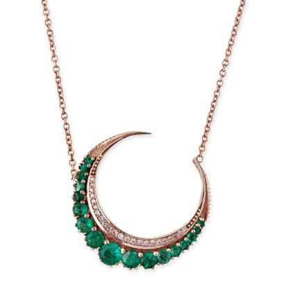 Jacquie Aiche emerald crescent moon necklace as seen on Rihanna