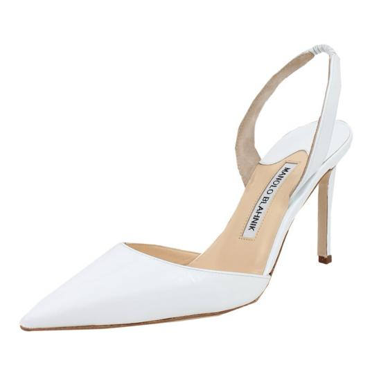 Manolo Blahnik white Carolyne slingback pumps as seen on Rihanna