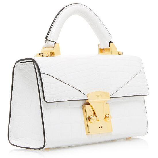 Stalvey Top Handle Mini white alligator handbag as seen on Rihanna