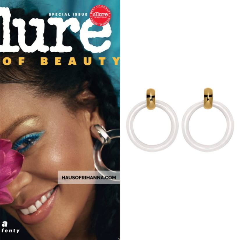 Rihanna Allure magazine Best of Beauty 2018 issue wearing Kenneth Jay Lane clear doorknocker earings