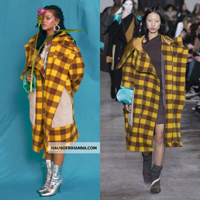 Rihanna Allure magazine Best of Beauty 2018 issue Rick Owens brown yellow plaid checkered coat