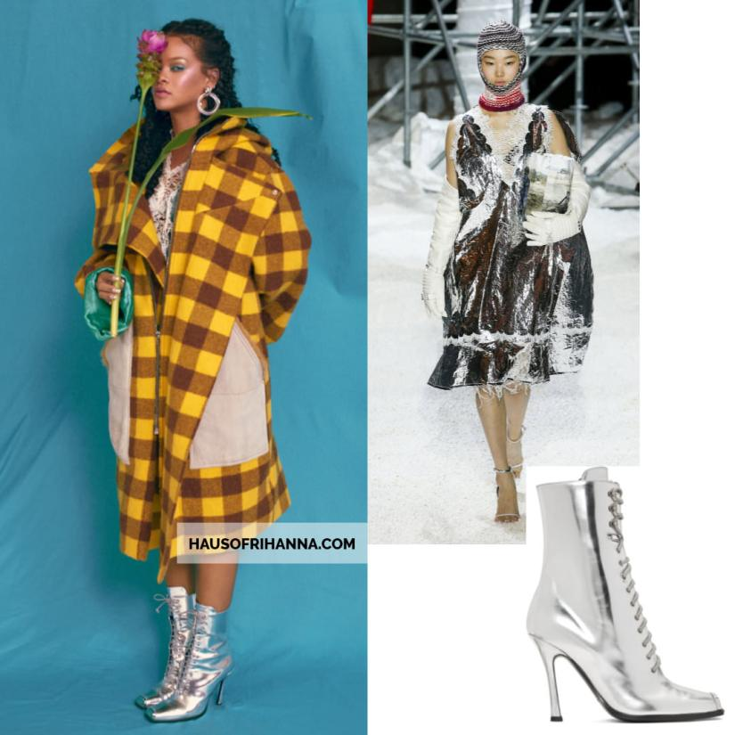 Rihanna Allure magazine Best of Beauty 2018 issue Calvin Klein silver lace dress and Windora lace-up boots, Kenneth Jay Lane clear doorknocker earrings