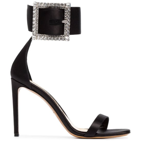 Alexandre Vauthier x Amina Muaddi Yasmin crystal embellished ankle strap sandal as seen on Rihanna
