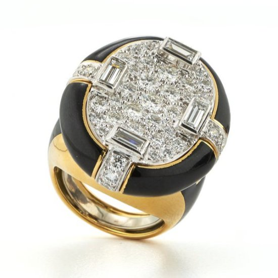 David Webb brilliant cut and baguette diamond black enamel ring as seen on Rihanna