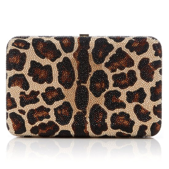 Judith Leiber seamless leopard crystal-embellished clutch as seen on Rihanna