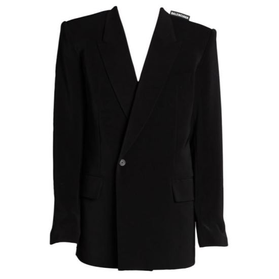 Balenciaga black strong shoulder jacket as seen on Rihanna